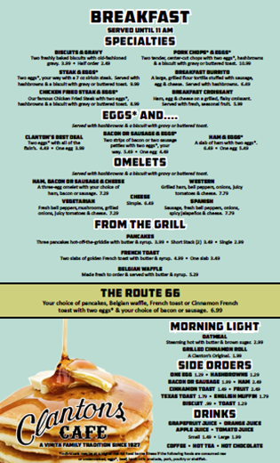 Clanton's Breakfast Menu